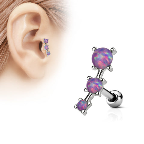 Triple Purple Opal Prong Set 316L Surgical Steel Tragus / Cartilage Barbell