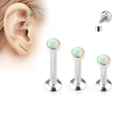 Set Of Three Opal Tragus Forward Helix Labret Monroe Lip Cartilage Bar Stud, White Opal Labret Stud