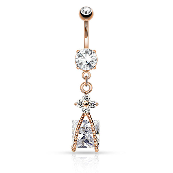 Roped Square CZ Dangle Belly Button Ring