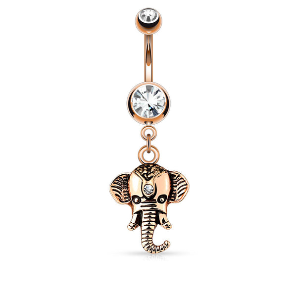 Rose Gold Elephant Dangle Belly Button Ring