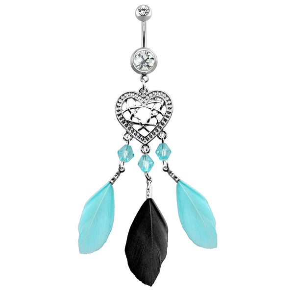 Heart Feather Dream Catcher Dangle Belly Button Ring
