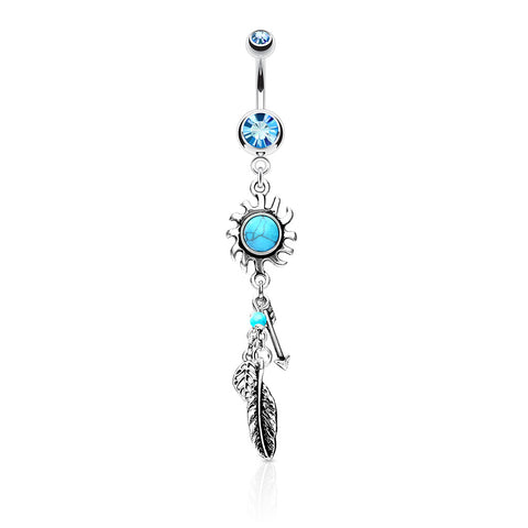 Turquoise Centered Tribal Sun with Feather and Arrows Dangle Belly Button Ring