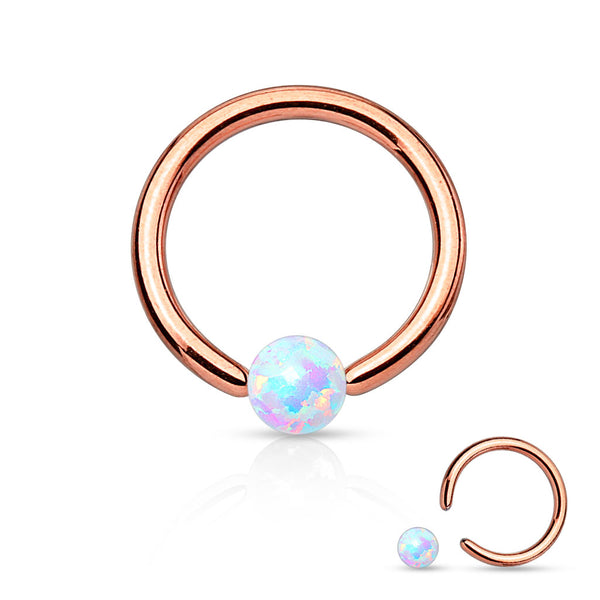 Rose Gold Captive Bead Rings, White Opal Nose / Daith / Septum / Cartilage / Tragus Ring