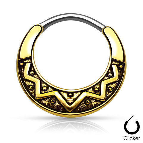 Gold Tribal Fan Design Round Septum / Daith Clicker Ring