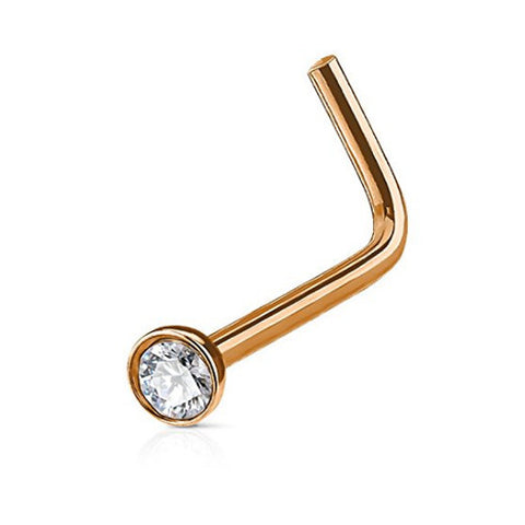 Clear Crystal L Bend , Rose Gold Nose Stud Ring