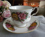 Vintage Pink and Yellow Roses Teacup and Saucer - The Pink Rose Cottage