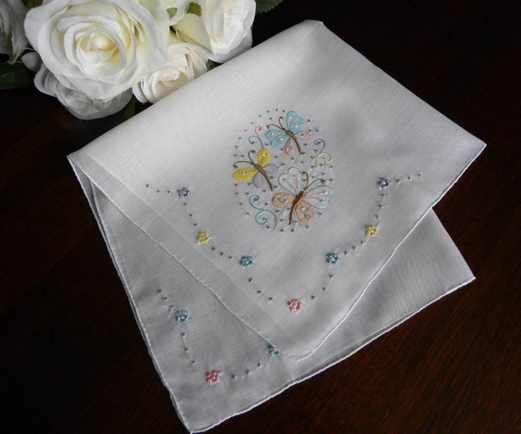 Vintage Embroidered Butterfly Handkerchief - The Pink Rose Cottage