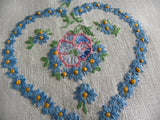 Vintage Embroidered Blue Daisy Heart and Pansy Linen Guest Towel - The Pink Rose Cottage