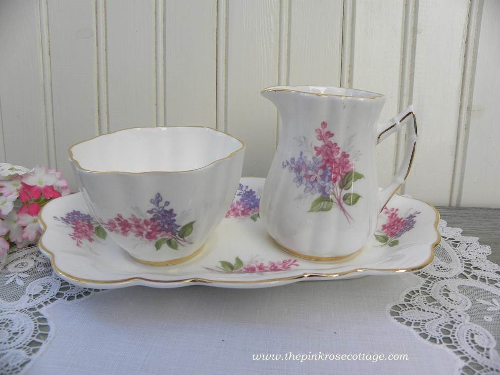 Vintage Pink and Purple Lilacs Sugar and Creamer with Under Plate - The Pink Rose Cottage