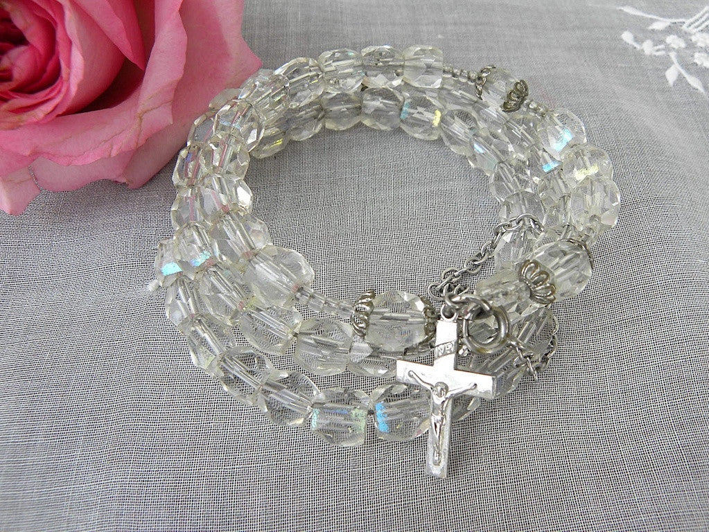 Vinage Crystal Wrap Rosary Bracelet - The Pink Rose Cottage