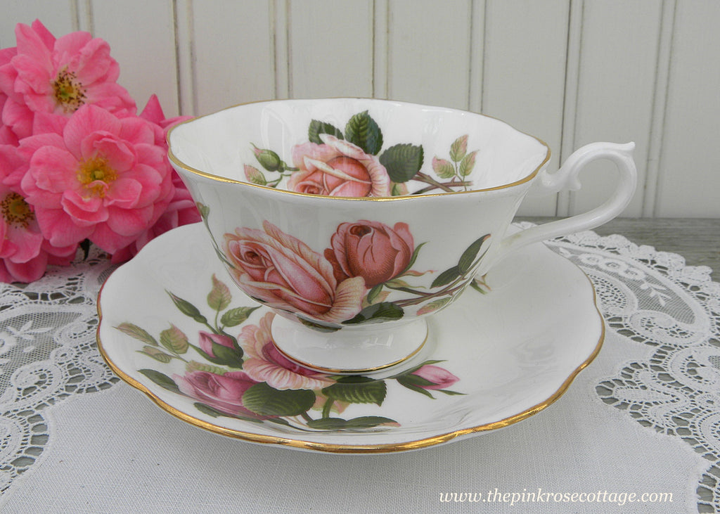 Vintage Royal Albert Pink Anniversary Rose Teacup and Saucer