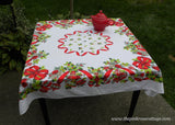 Vintage Christmas Tablecloth Holly Wreath Bells Shiny Brites Ornaments