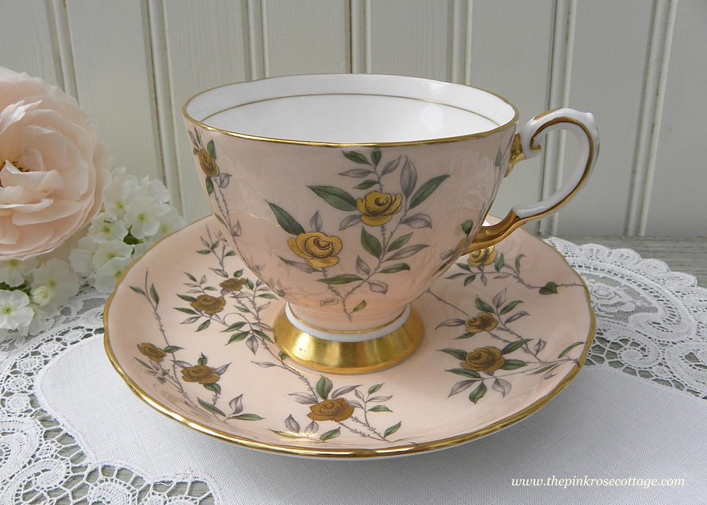 Vintage Tuscan Pink Teacup and Saucer with Gold Gilt Roses