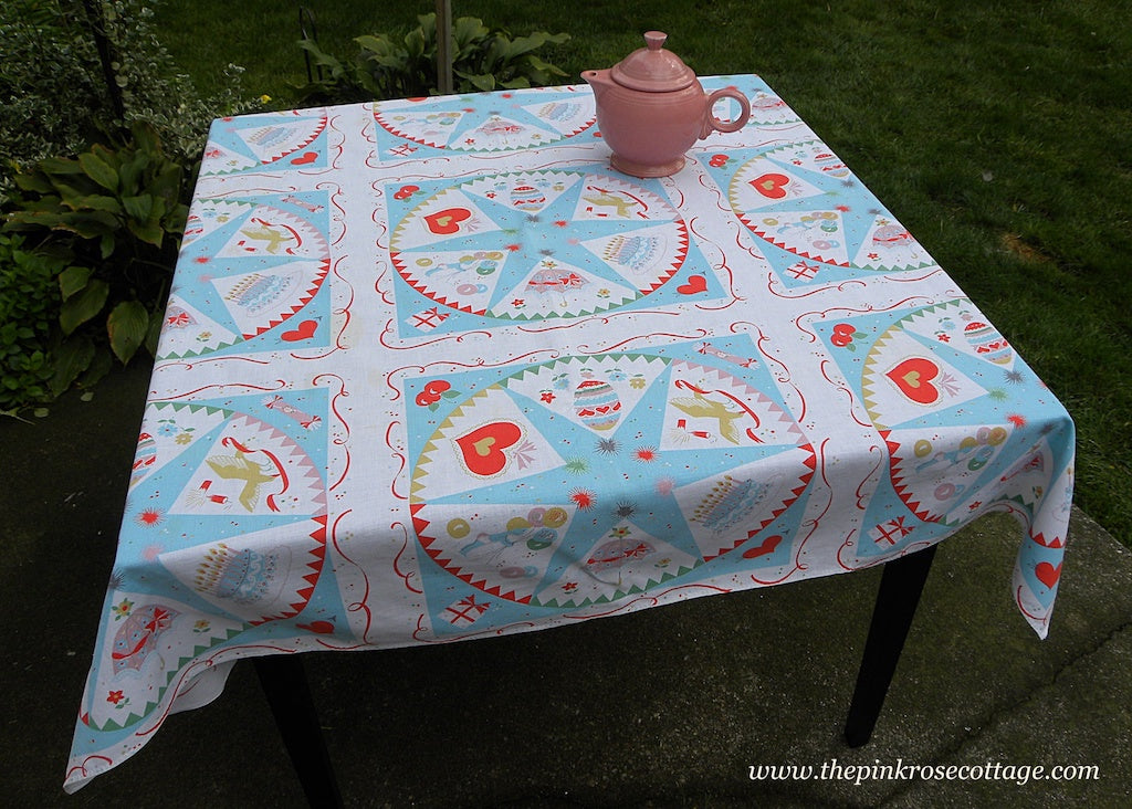 Vintage Blue Celebration Tablecloth Easter Birthday New Years Bridal and More