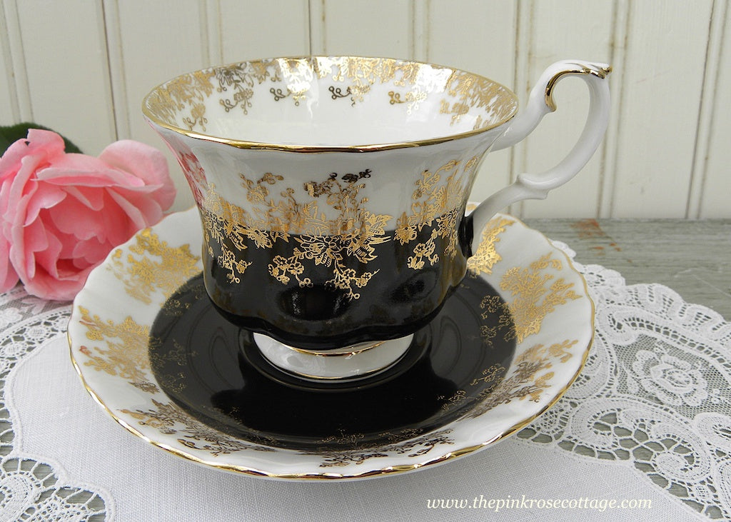 Vintage Royal Albert Black and Gold Teacup and Saucer Regal Series