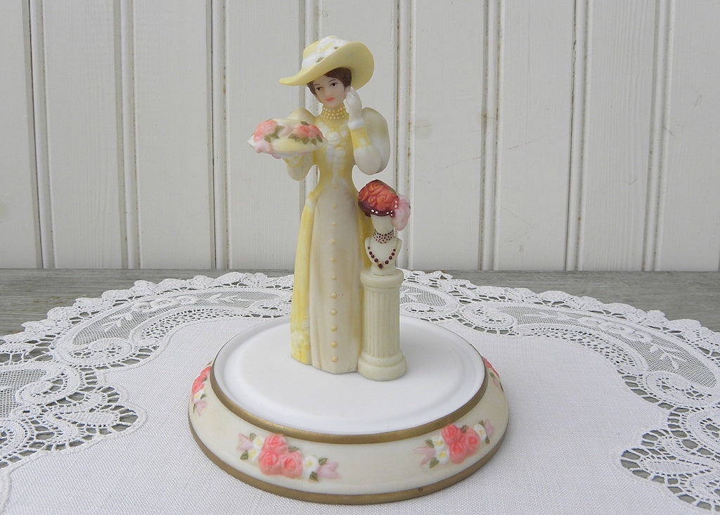 Miniature Victorian Lady Figurine at Milliner with Dome