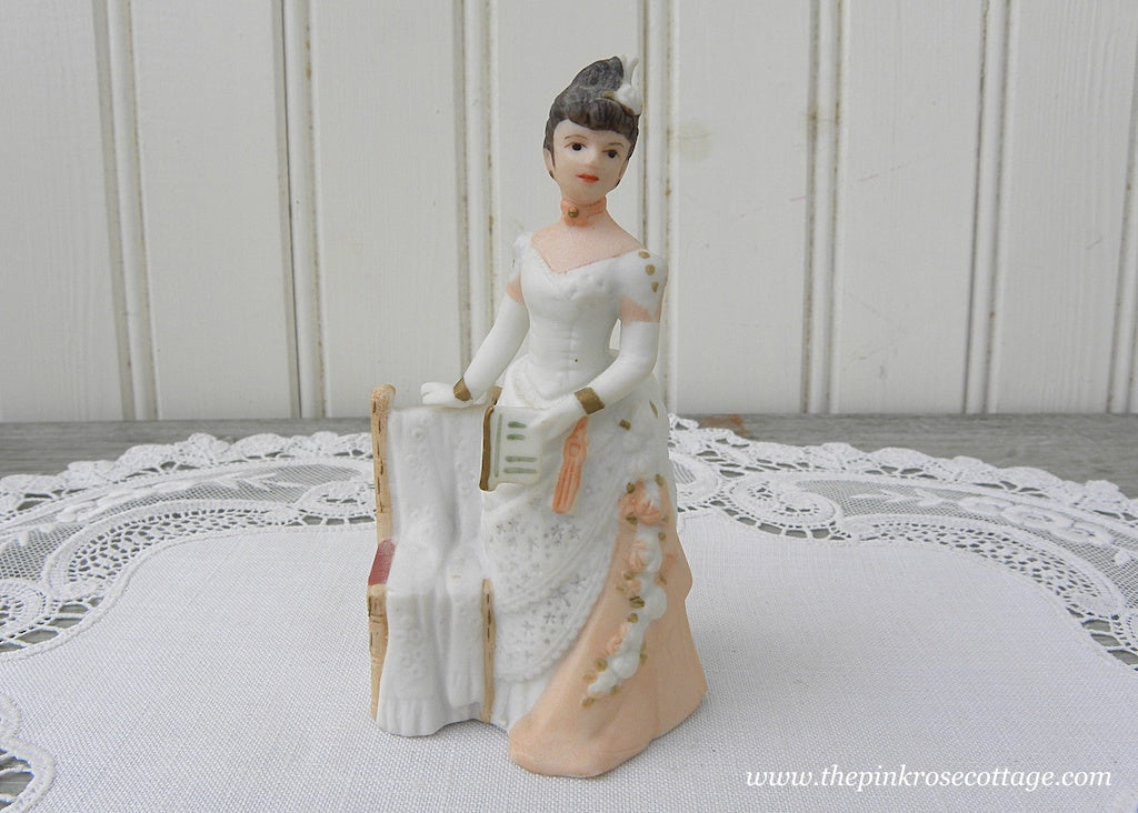 Miniature Victorian Lady Figurine Peach and Lace Dress with Roses