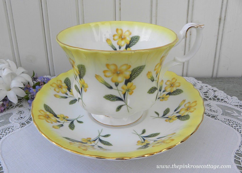 Vintage Royal Albert Yellow Buttercup Primrose Teacup and Saucer