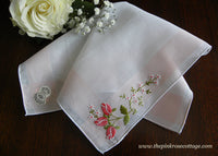 Vintage Desco Embroidered Pink Roses White and Pink Handkerchief