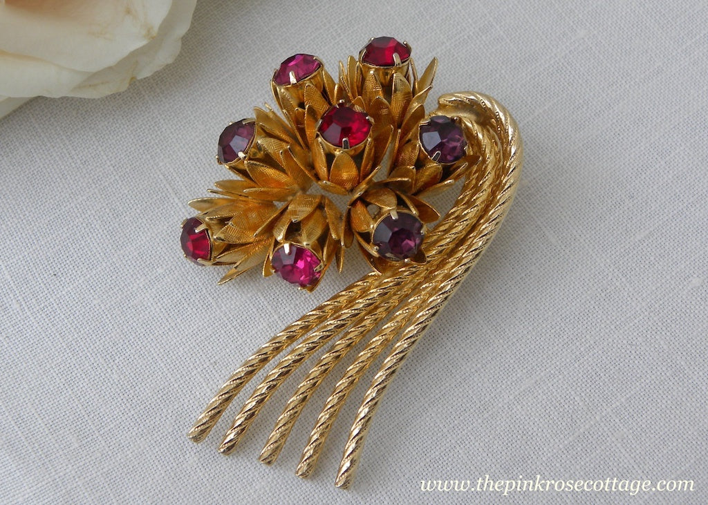 Vintage Pink and Red Rhinestone Floral Bouquet Brooch Pin