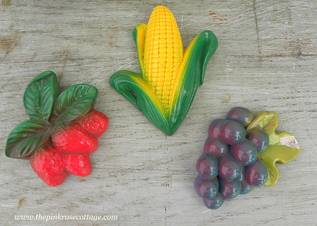 Vintage Chalkware Kitchen Wall Plaques Strawberry Grapes and Corn on the Cob