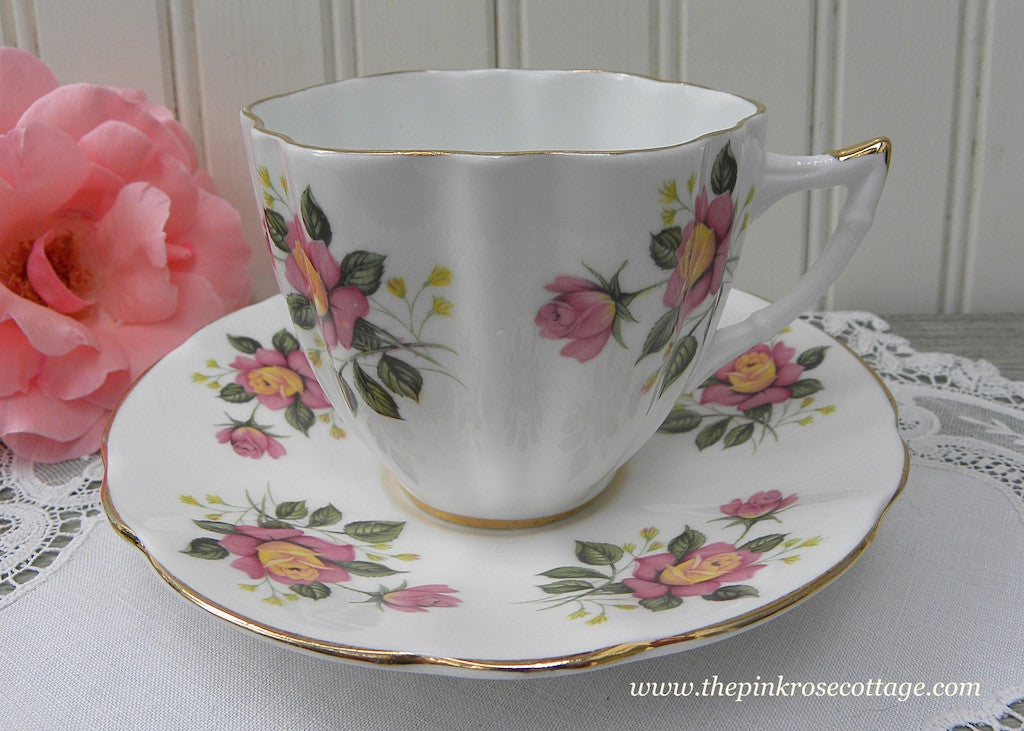 Vintage Royal Castle Pink and Yellow Roses Teacup and Saucer