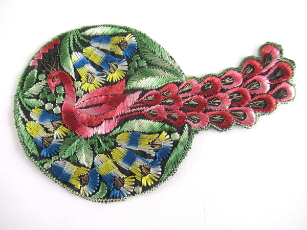 UpperDutch:Applique,Authentic Antique Silk Peacock applique, application, patch. Crazy Quilt, sewing supply.