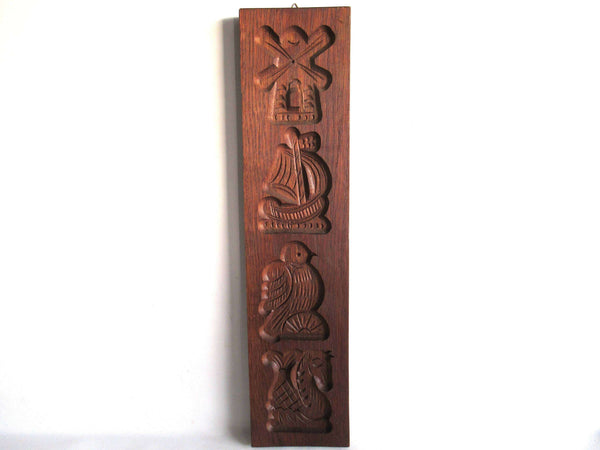UpperDutch:Cookie Mold,Wooden cookie mold,  Dutch Folk Art, speculaas plank, springerle, ship, windmill, bird, seahorse.