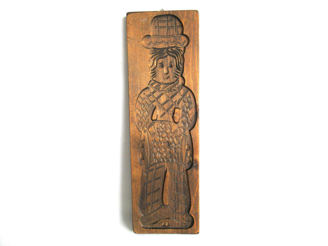 UpperDutch:Cookie Mold,Wooden Dutch Folk Art Cookie Mold. Antique Bakery decoration. Wood carved man from Holland. Spiced cookie springerle wall decor.