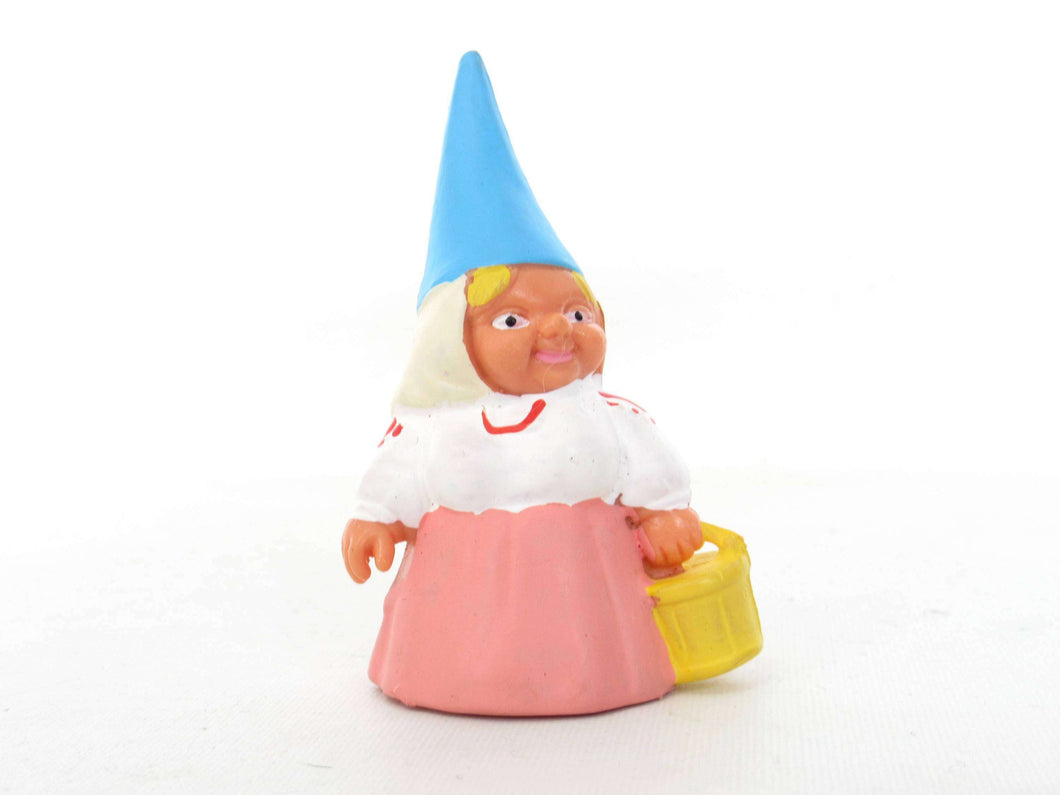 UpperDutch:Gnome,1 (ONE) Gnome figurine in pink dress, Gnome after a design by Rien Poortvliet, Brb Gnome, Lisa the Gnome carrying a bucket.