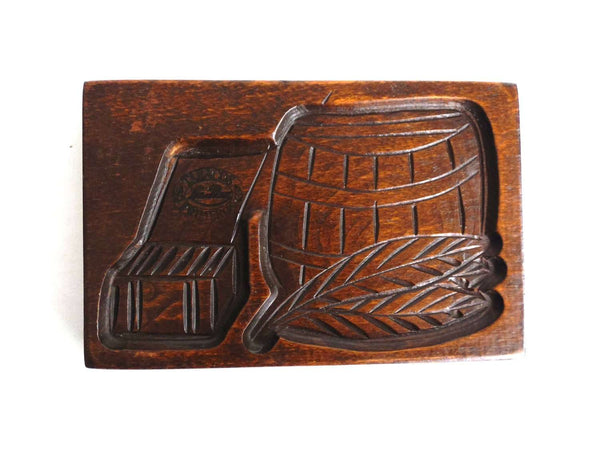 UpperDutch:Cookie Mold,Wooden cookie mold with Tobacco Scenes. Wooden Cookie Mold. Tabacos Primeros, La Paz. Springerle.