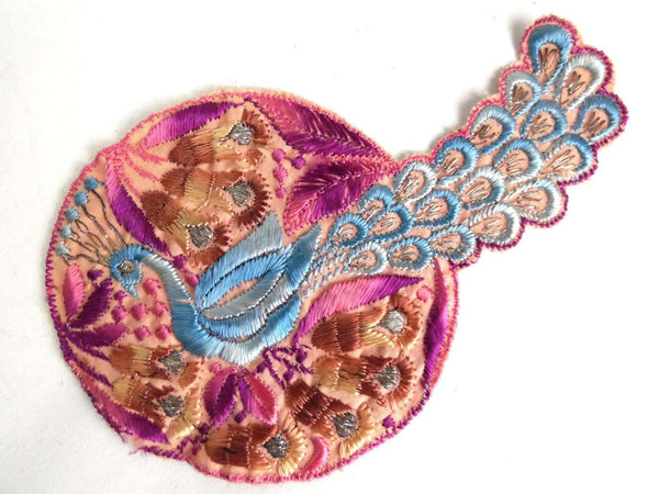 UpperDutch:Sewing Supplies,Peacock, Bird Applique, 1930s Vintage Embroidered Peacock applique, application, patch. Vintage patch, sewing supply.