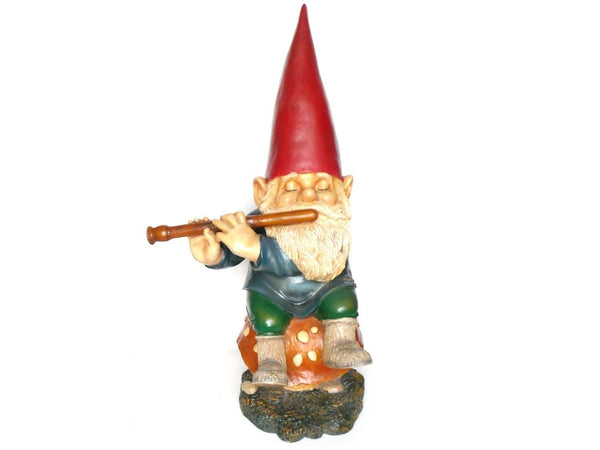 UpperDutch:Gnomes,34 INCH Garden gnome, Gnome with Flute on Mushroom. Rien Poortvliet, David the Gnome, Childrens decor, el Gnomo. Gift.