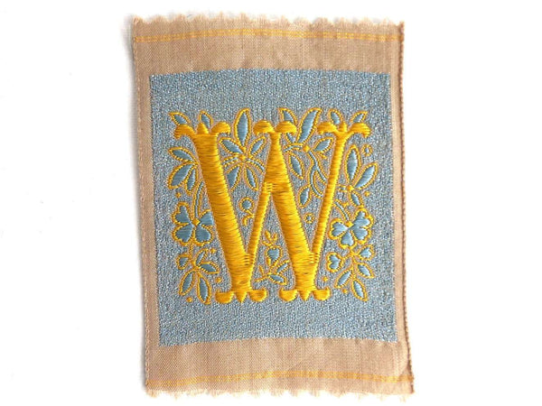 UpperDutch:Sewing Supplies,Letter W, Monogram Applique, 1930s Vintage Embroidered 'Letter W' applique. Alphabet Patch / Monogram application, antique letter