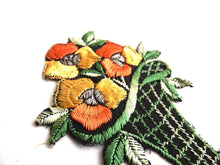 UpperDutch:Sewing Supplies,Applique, flower basket applique, 1930s vintage embroidered applique. Vintage floral patch, sewing supply.