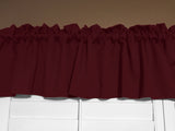 "Solid Poplin Window Valance 58"" Wide Burgundy"