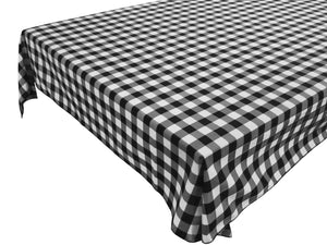 Cotton Gingham Checkered Tablecloth Black