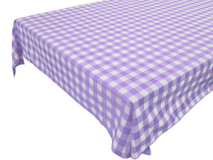 Cotton Gingham Checkered Tablecloth Lavender