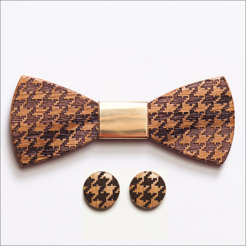 Charles Woods Wooden Bow Tie + Cufflinks - Patore' UK - Wooden Bow Ties