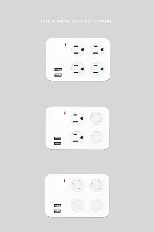 4-Outlet Surge Protected Wall Plug with 2 USB Charging Ports