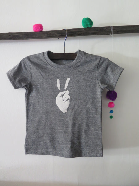'PEACE SIGN' KIDS TEE (HEATHER GREY)