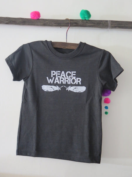 'PEACE WARRIOR' KIDS TEE (HEATHER GREY)