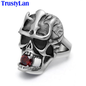 TrustyLan Stainless Steel Men's High Quality Fashion Jewelry Skull Ring Red Stone