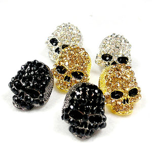 FishSheep Rock Skull Crystal Stud Earrings Gold Color With Stone Fashion Jewelry