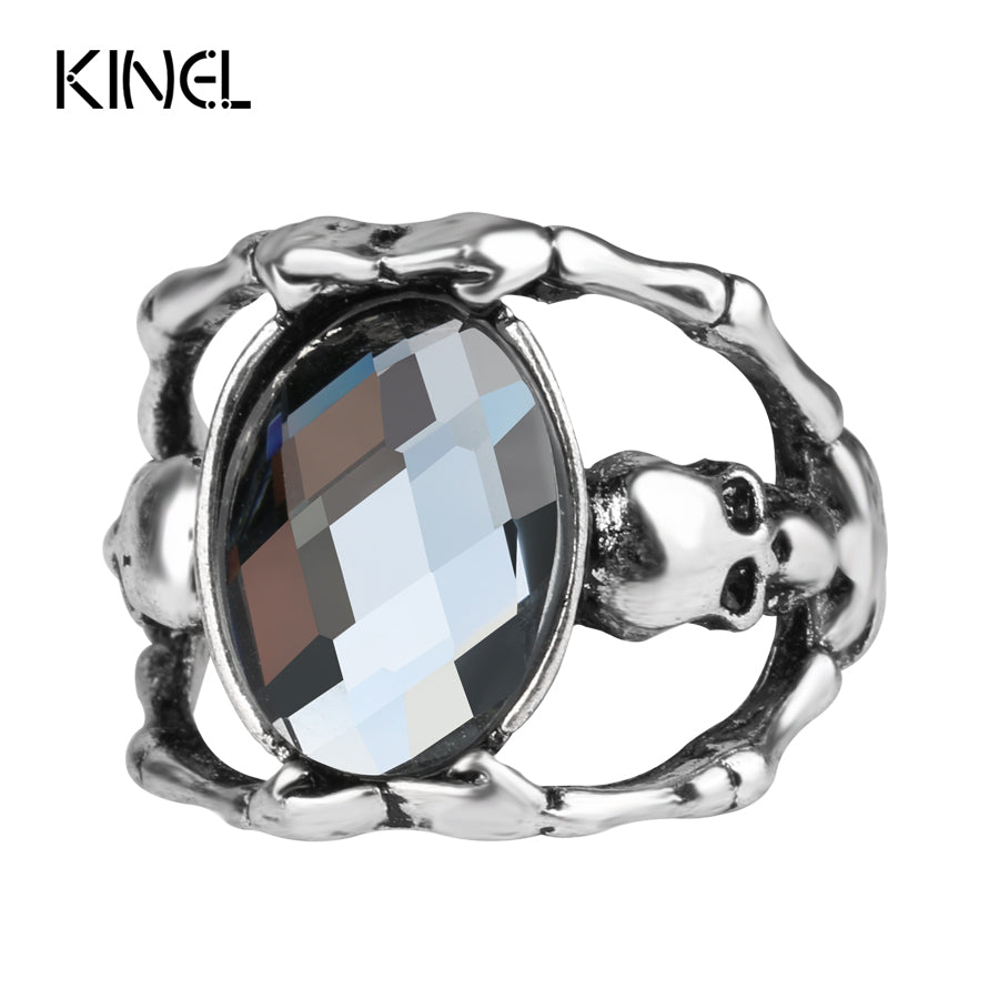 New Ghost Skull Rings For Women Ancient Silver Color Gray Glass Jewelry Fashion Skull Ring