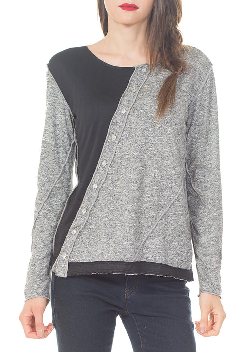 CREW NECK, ASY. PLACKET - PTJ TREND: Women's Designer Clothing