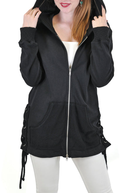 LONG ZIP UP JACKET HOODIE WITH SIDE POCKETS