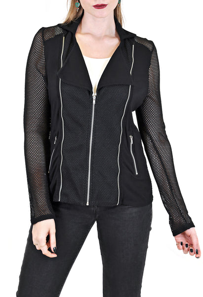 MOTO  JACKET WITH CONTRAST SLEEVE FABRIC