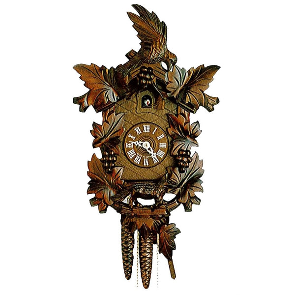 Black Forest Cuckoo Clock with Leaves & Pecking Bird-1 Day K1630/38