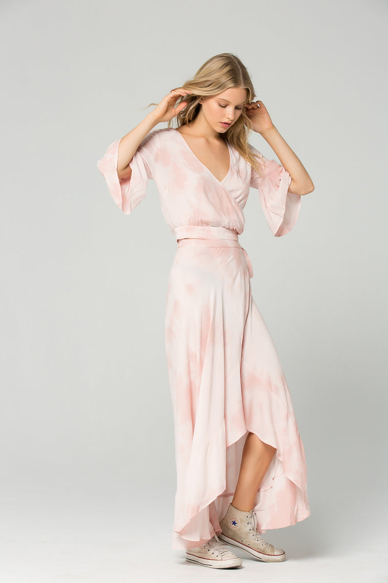 St. Barts Blush Tie Dye Ruffle Wrap Maxi Skirt side 2